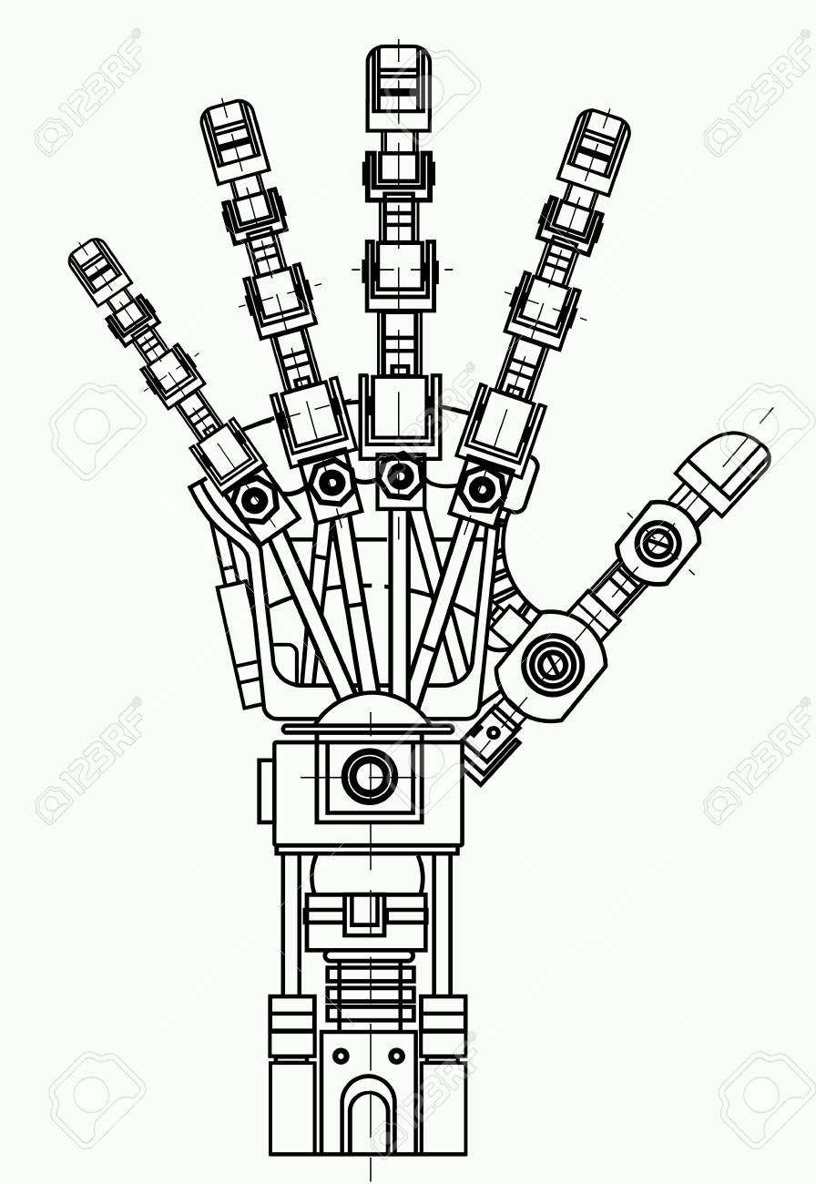 Robotic Arm Drawing Model It Can Be Used As An Illustration