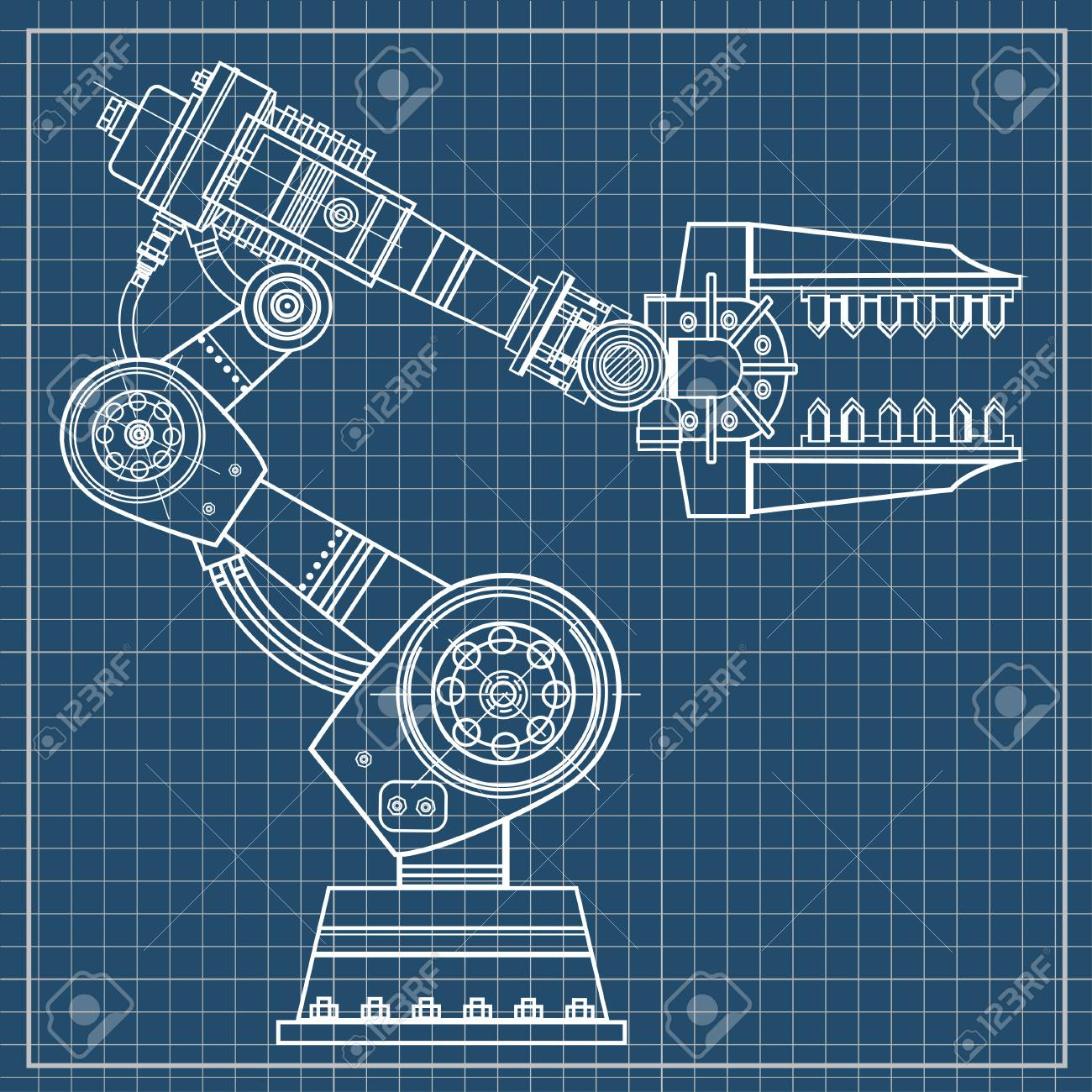 Industrial robot hand vector image on the isolated blueprint industrial robot hand vector image on the isolated blueprint background stock vector 97960490 malvernweather Choice Image