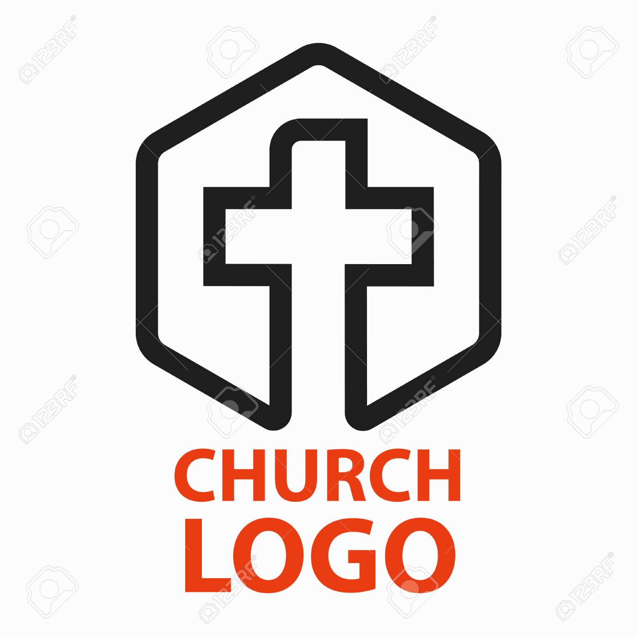 Christian Churches Logo Line Art In The Form Of A Cross Intended