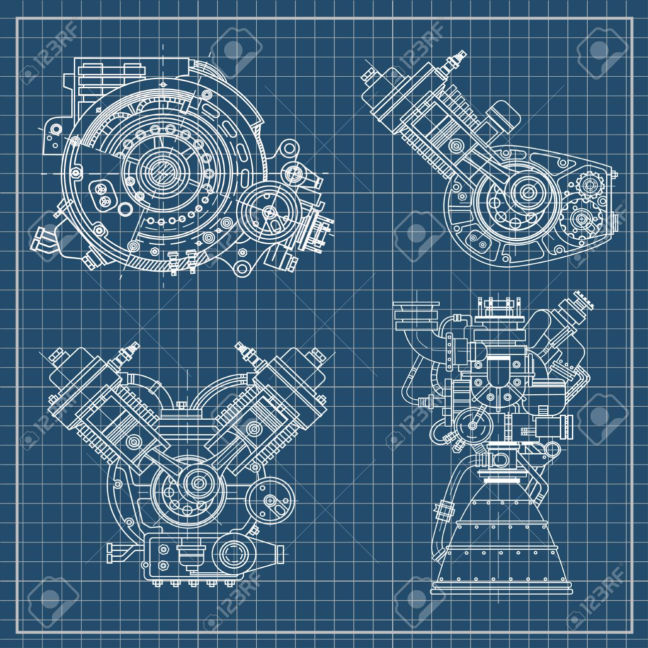 Set Of Drawings Of Engines - Motor Vehicle Internal Combustion ...