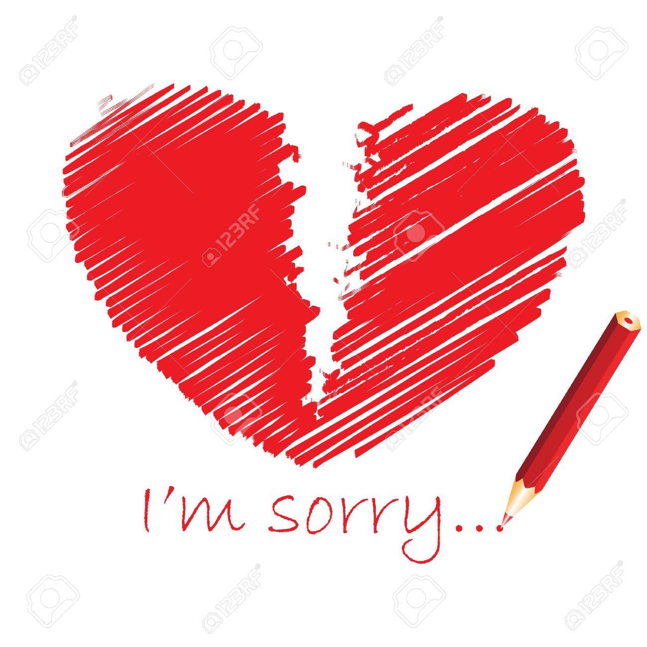 Red broken heart, vector illustration - 9542856
