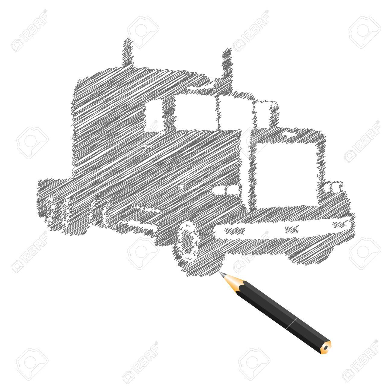 Hand-drown truck sketch, vector illustration Stock Vector - 9542911
