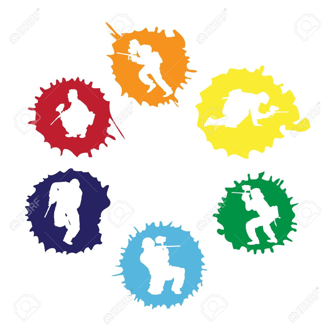 colored paintball silhouettes into the drops vector illustration rh 123rf com paintball clip art free paintball clip art free
