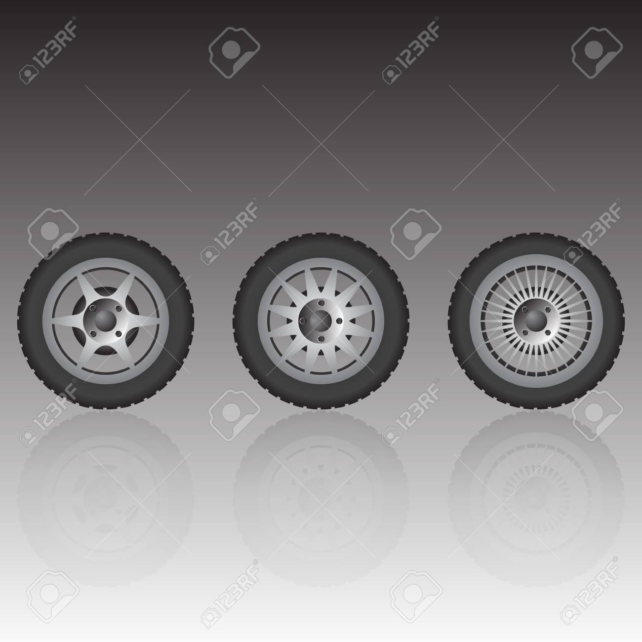 Wheel collection with reflection, vector illustration Stock Vector - 9542872