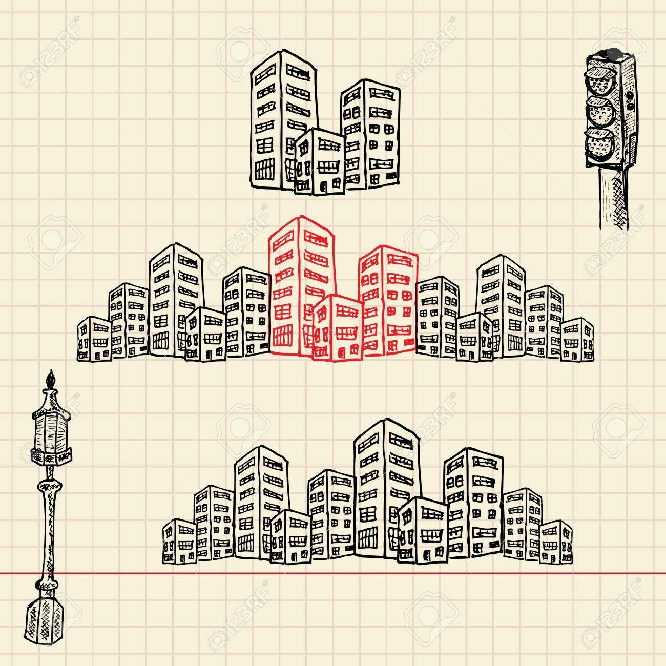 Cityscape, sketch set, vector illustration, eps10 Stock Vector - 12237078