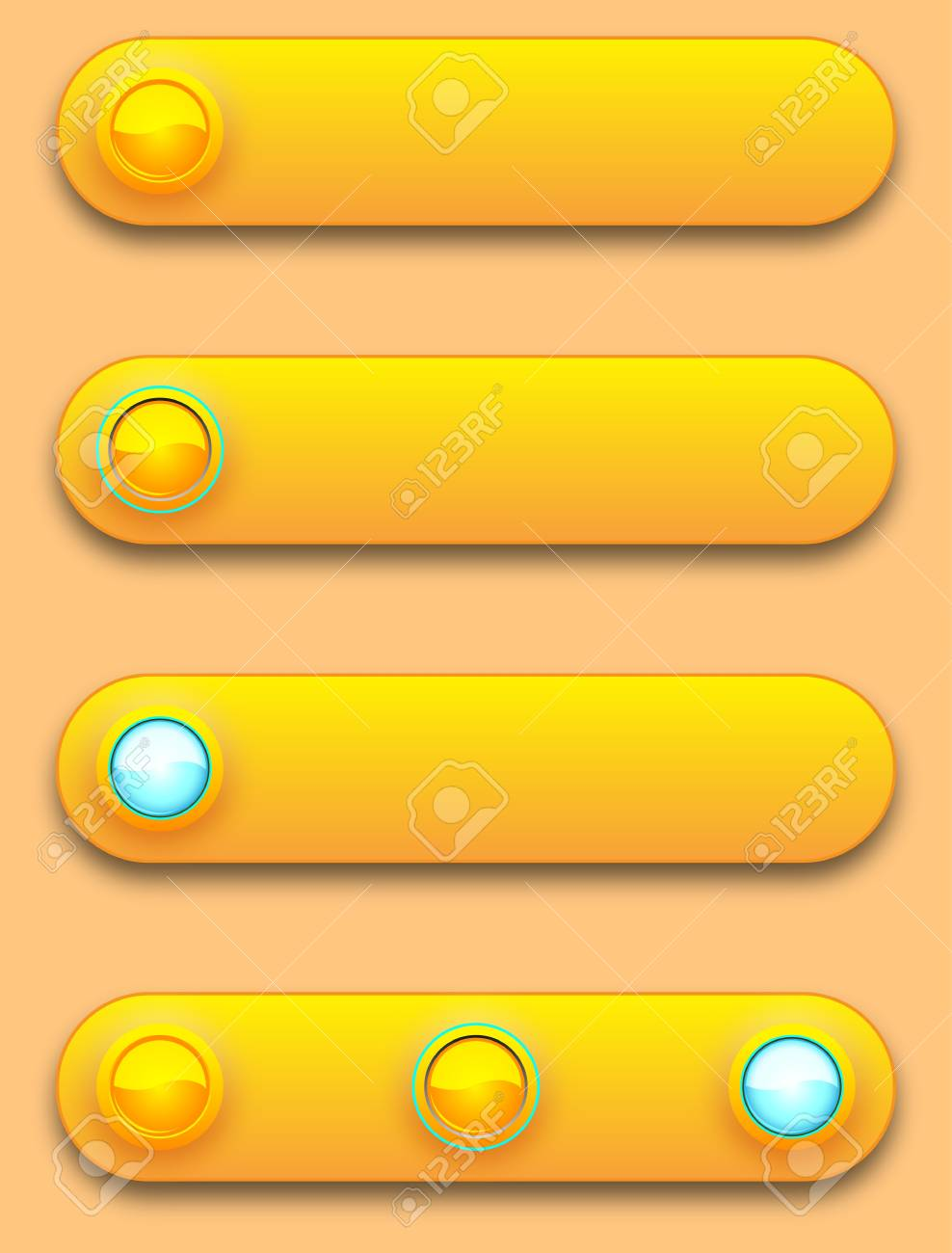 Long button, off, selected and pushed. Stock Vector - 12391677