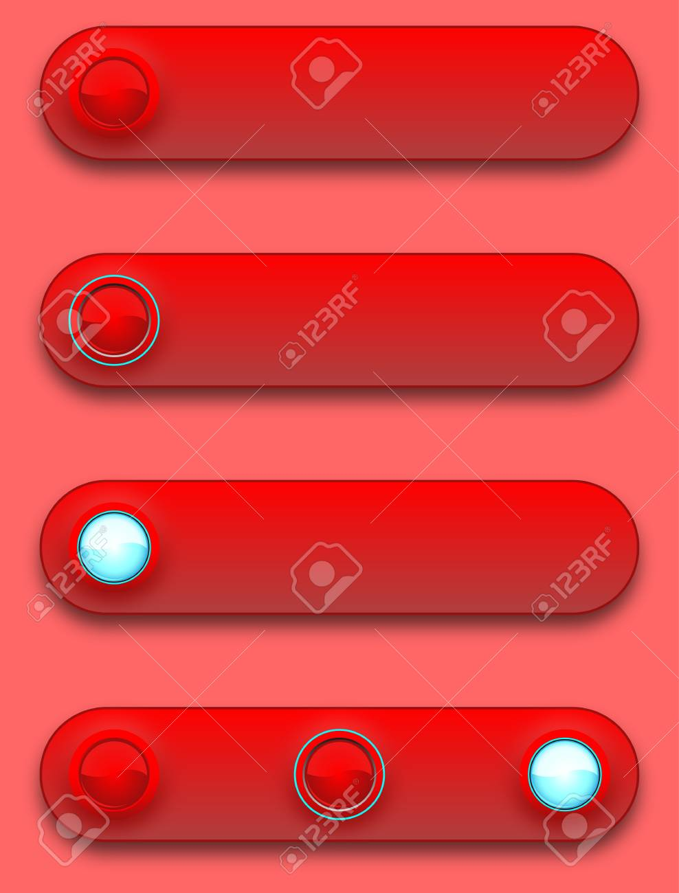 Long button, off, selected and pushed. Stock Vector - 12391675