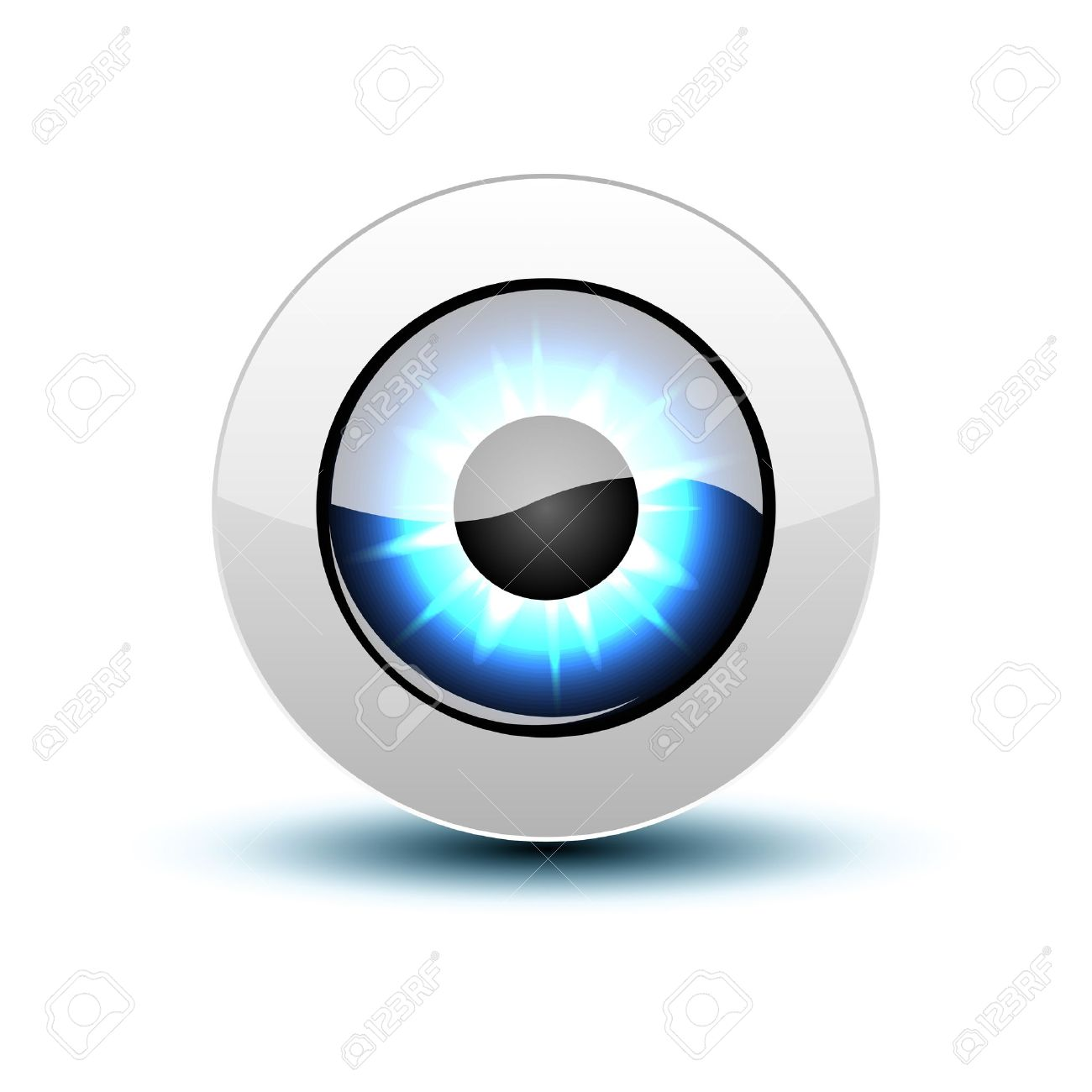 see eye glasses icon blue eye icon with shadow on white