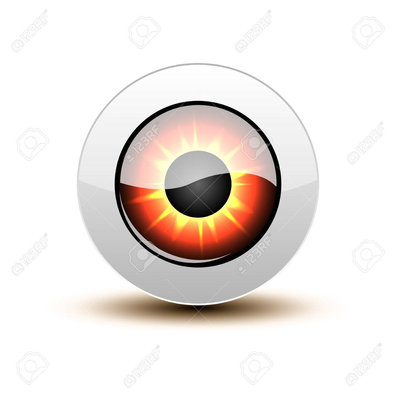 Orange eye icon with shadow on white. Stock Vector - 12391708