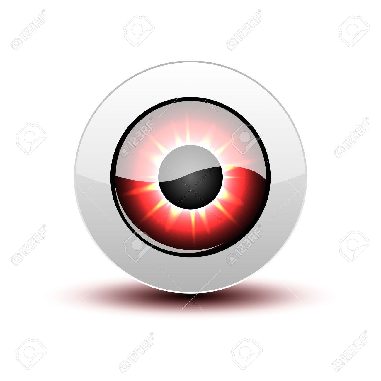 Red eye icon with shadow on white. Stock Vector - 12391710