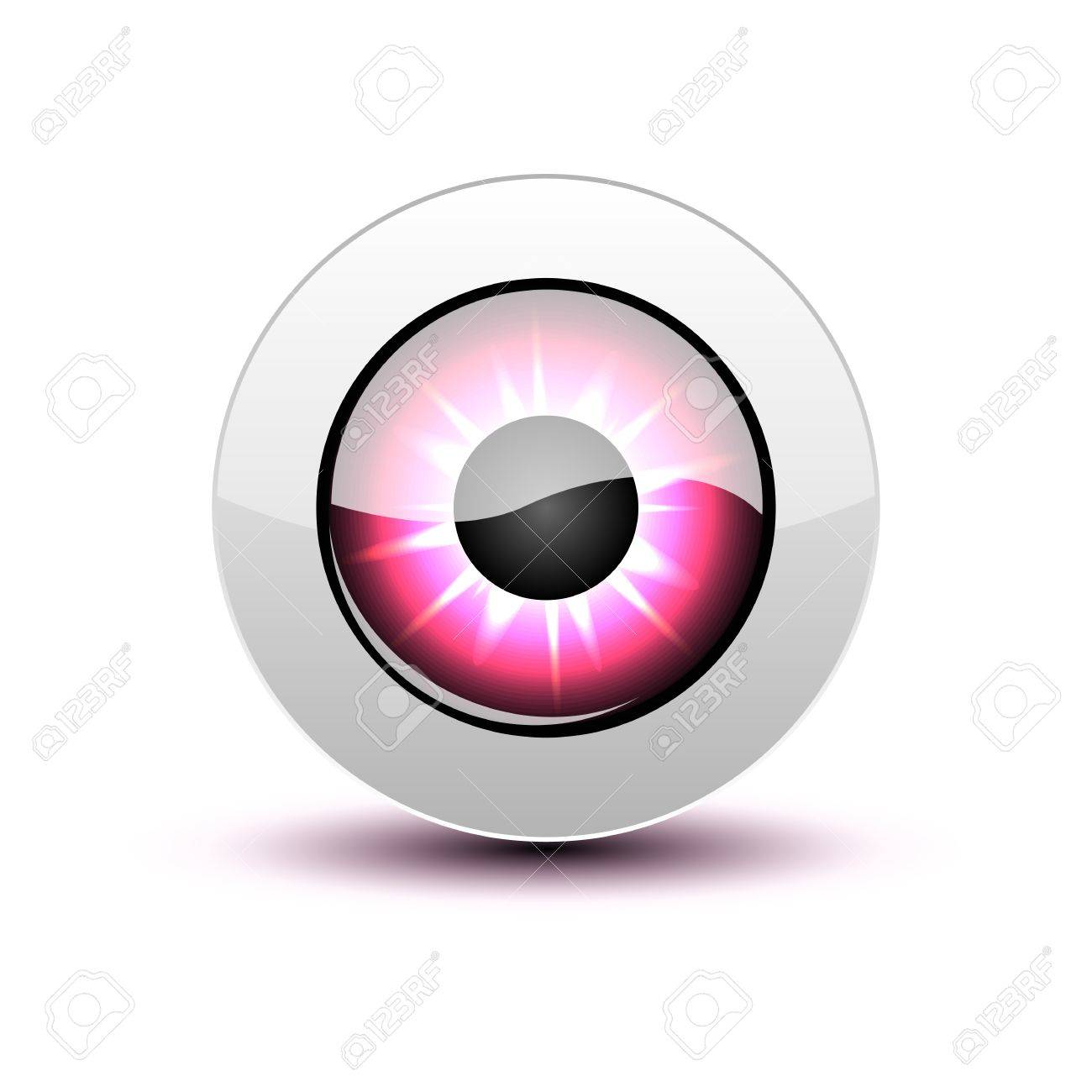 Pink eye icon with shadow on white. Stock Vector - 12391705