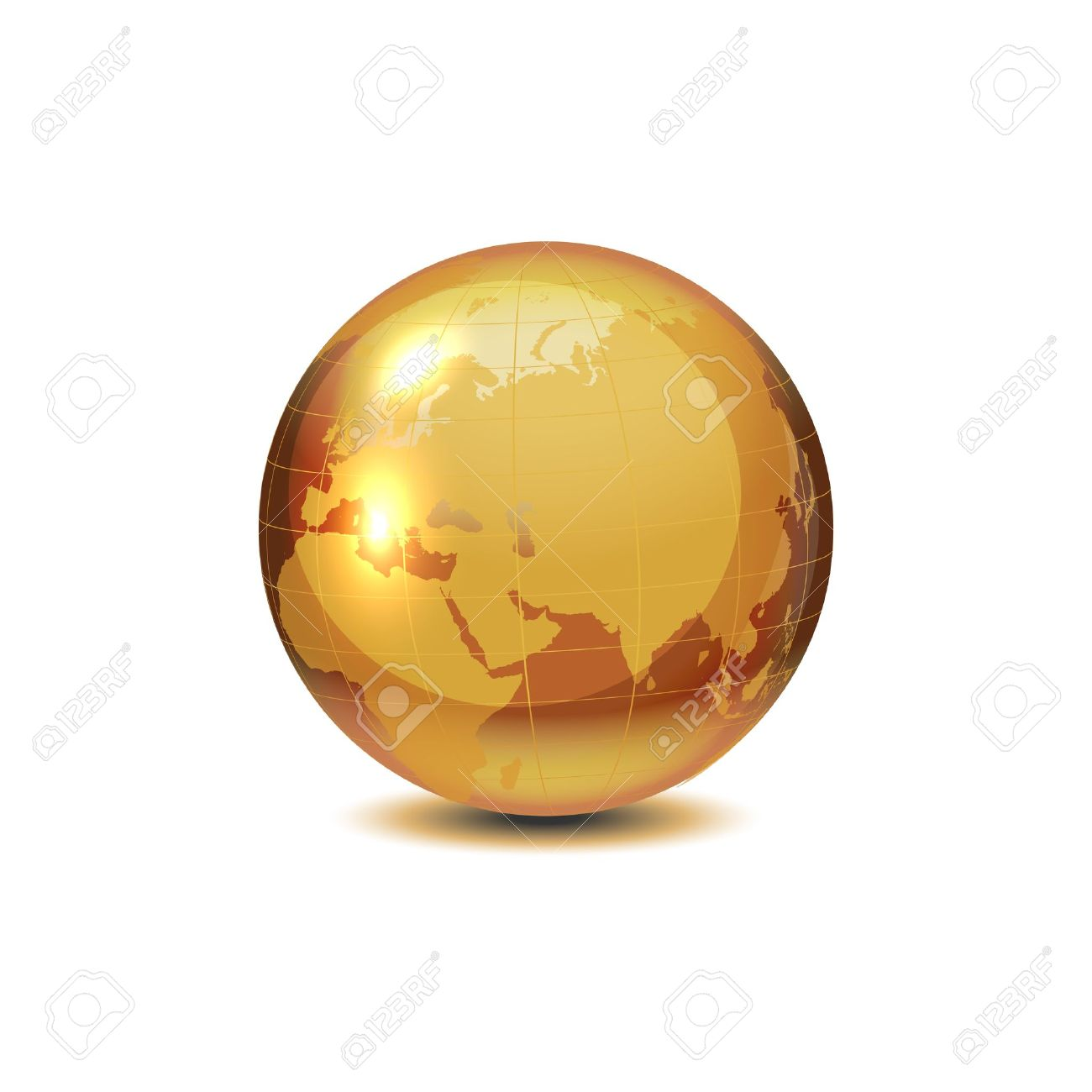 Golden globe with shadow on white, vector illustration. Stock Vector - 12391714