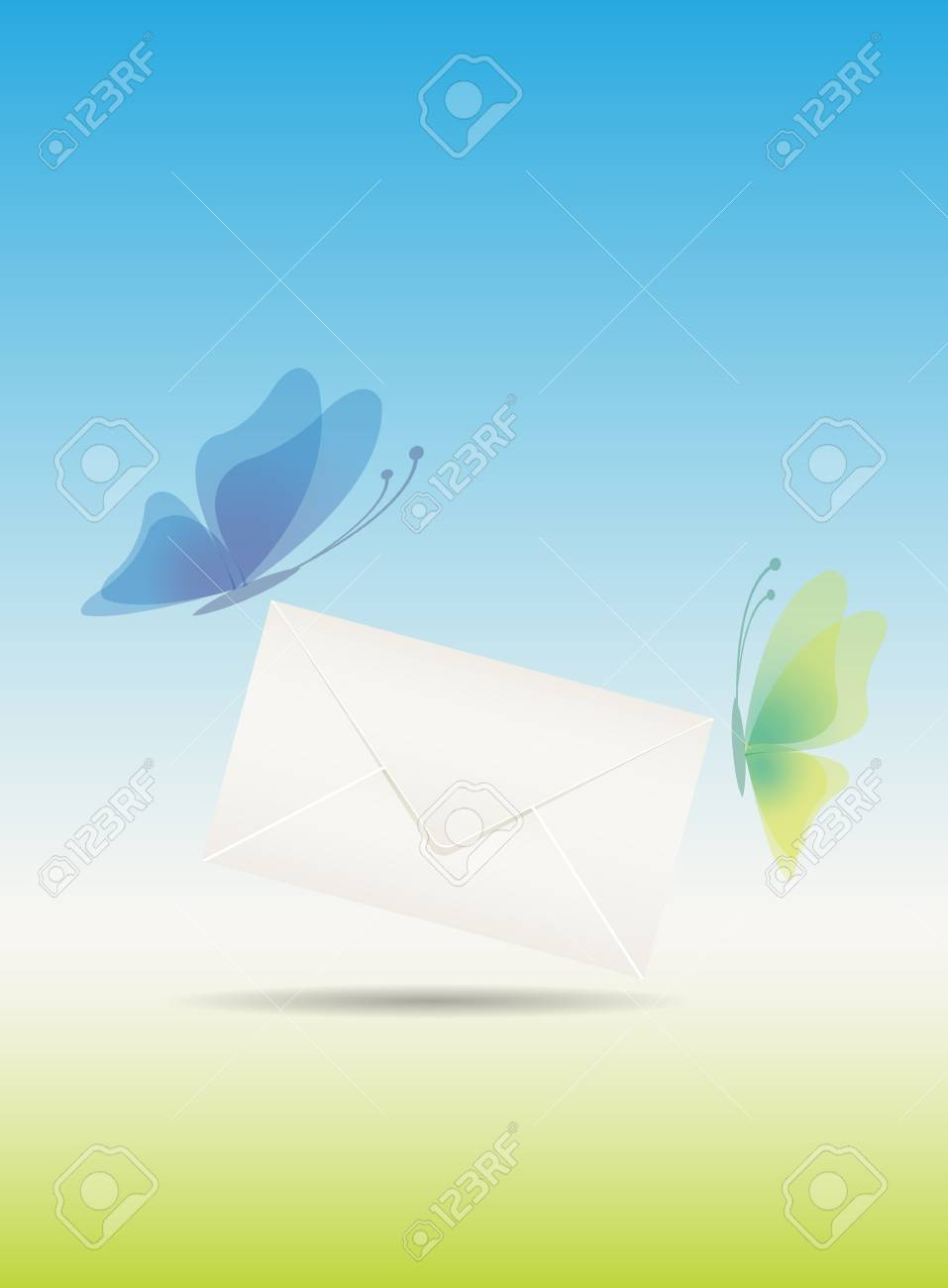 Love message with butterflies illustration easy editable Stock Vector - 12494034
