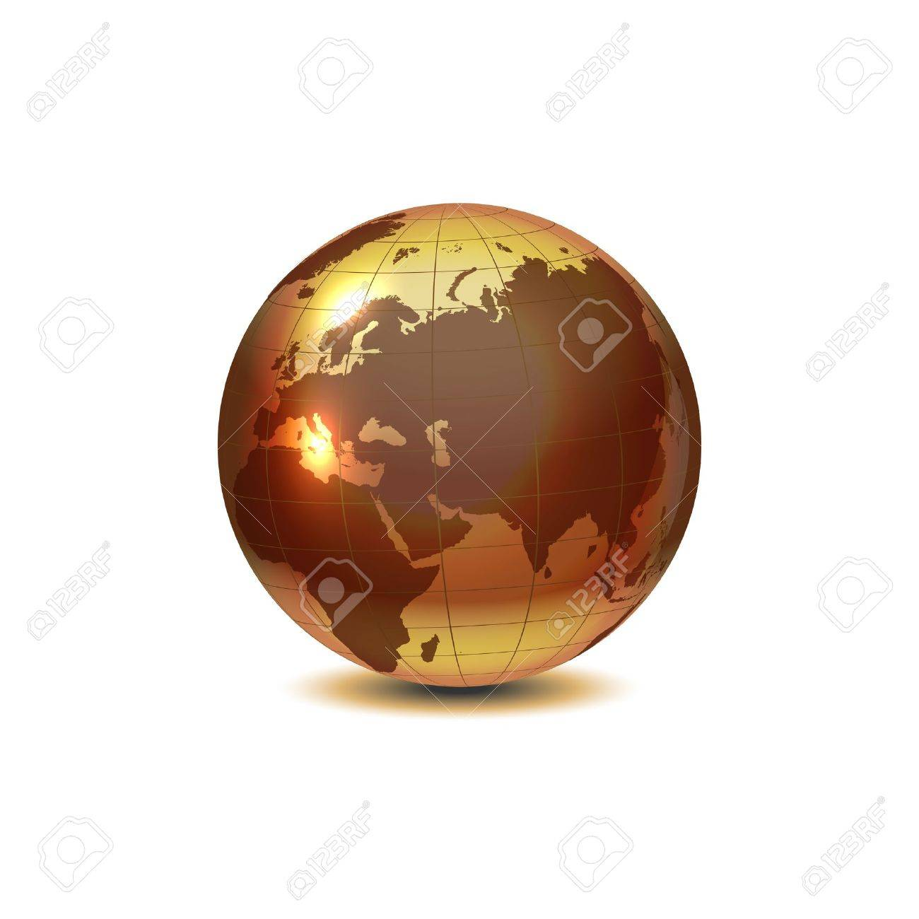 Golden globe with shadow on white Stock Vector - 12494310