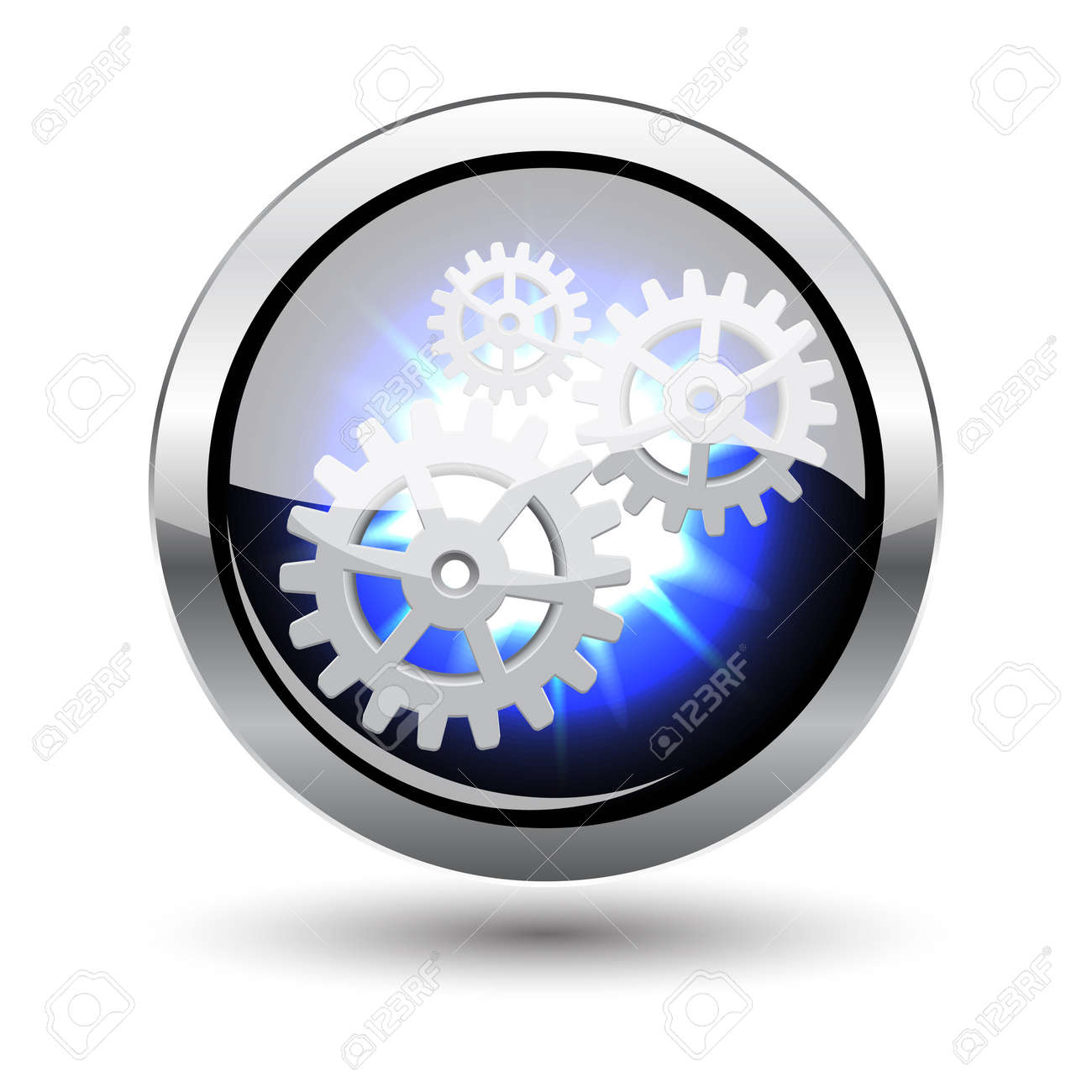 Isolated glowing repairing metal button with shadow on white Stock Vector - 12498473