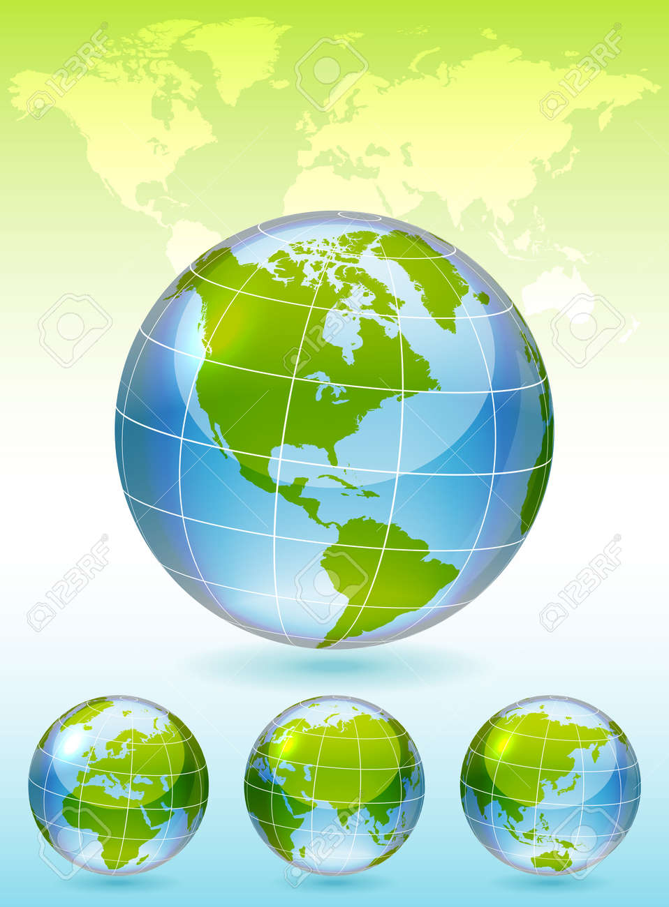 Different views of glass globe, map included Stock Vector - 12756959