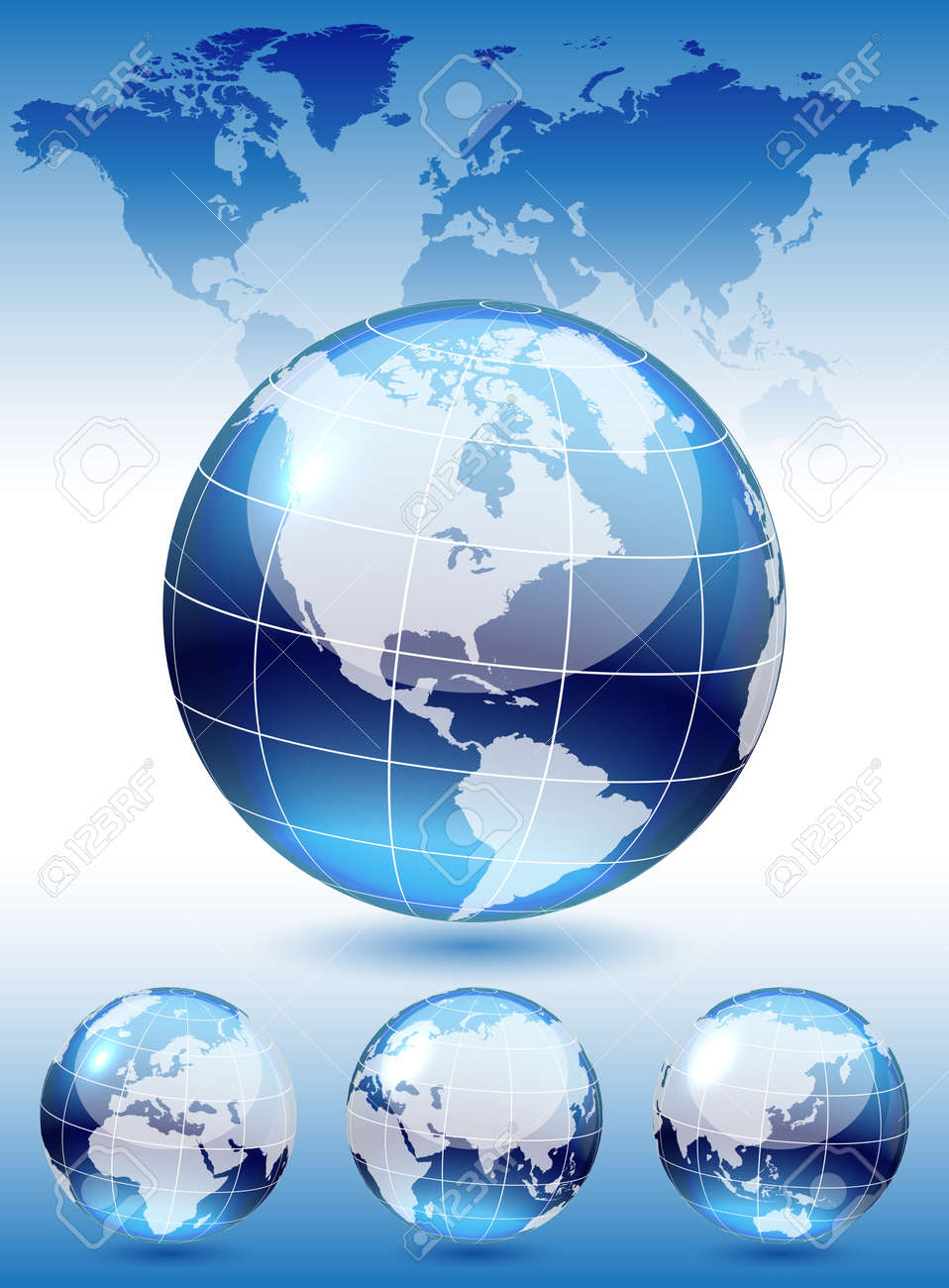 Different views of dark blue glass globe, map included Stock Vector - 12763309