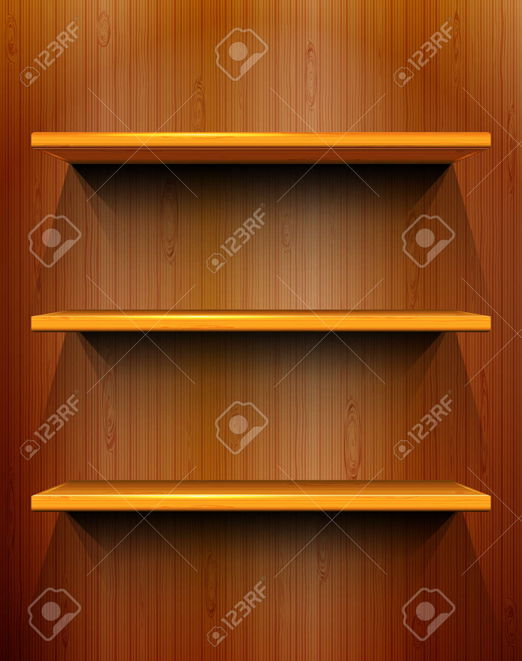 Wooden shelves with place for your exhibits, seamless wooden background Stock Vector - 14164803