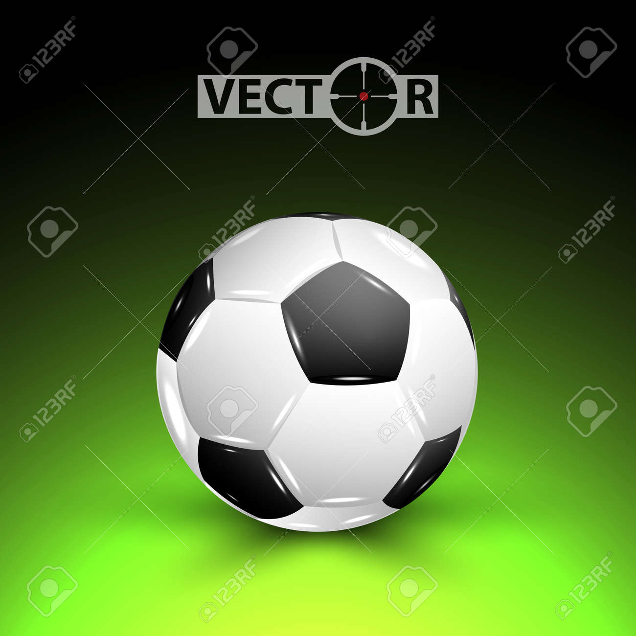 Vector soccer ball with shadow on field, vector illustration, eps10, 3 layers Stock Vector - 14241228