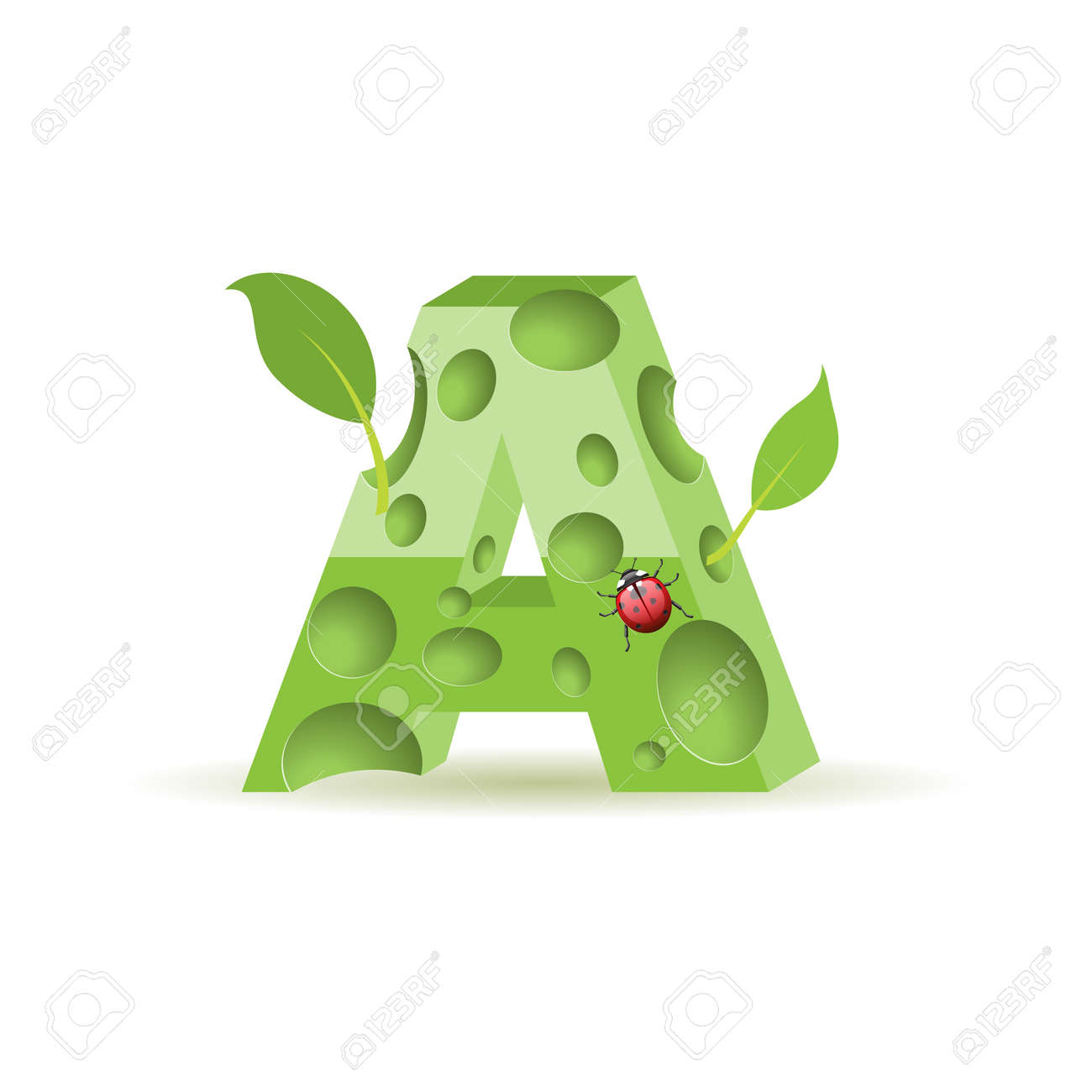 Ecological alphabet, green floral letter with ladybird Stock Vector - 15013457