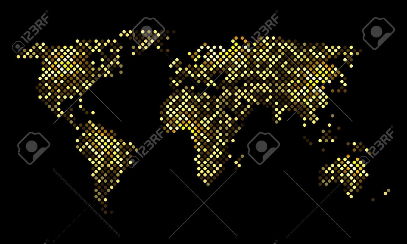 Carte Du Monde Lumineuse.Monde Pixel Colore Carte De Nuit Lumineuse Illustration Vectorielle Pour Votre Conception