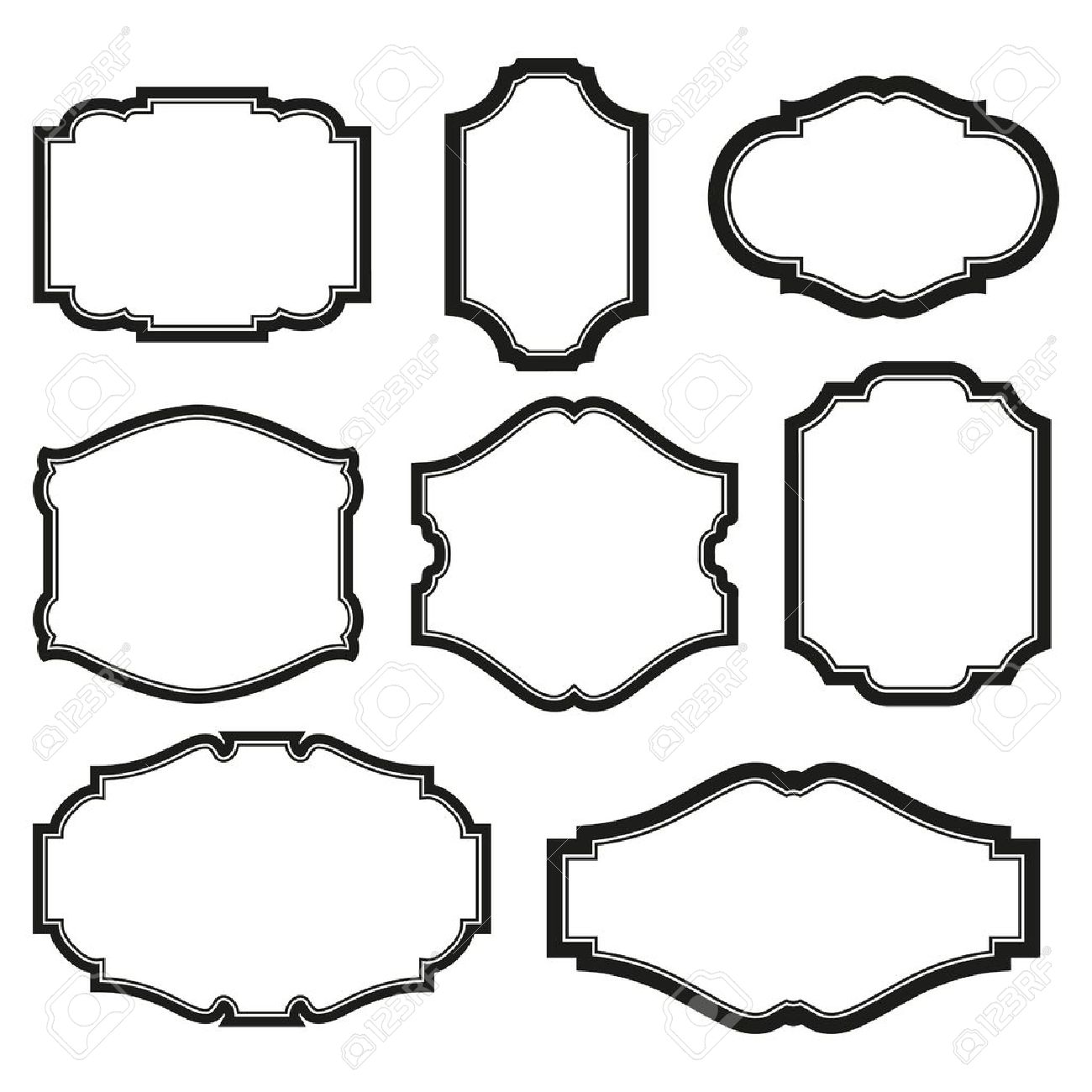 vector baroque simple set of black frames isolated on white