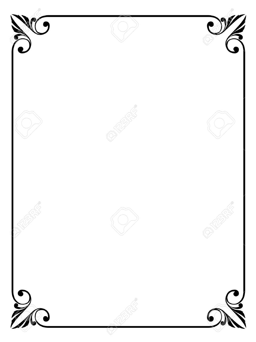 Simple Calligraphy Ornamental Decorative Frame Pattern Stock Vector