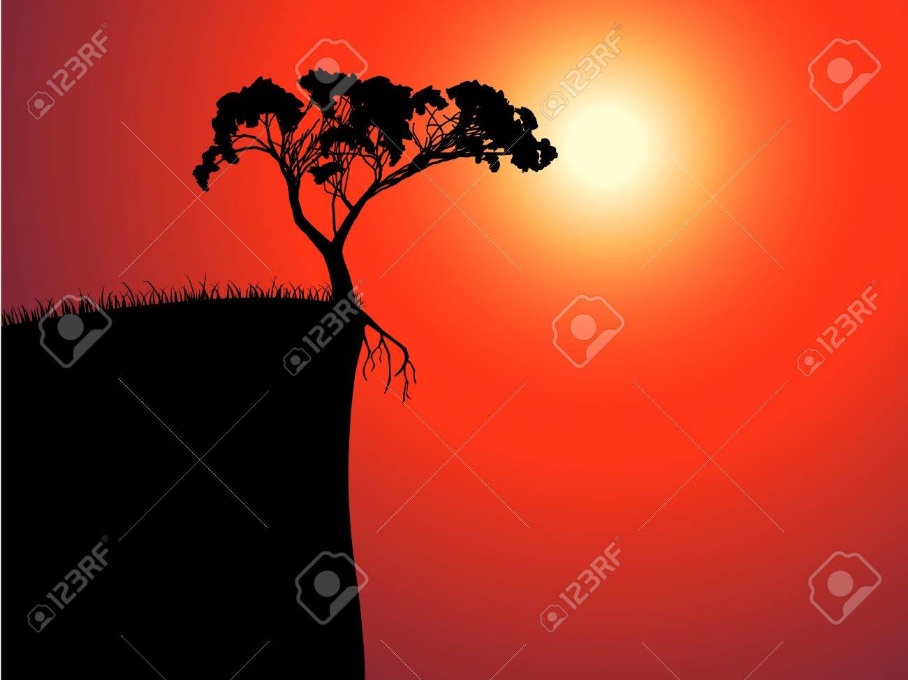 single lonely tree on the brink, sun in a fog Stock Vector - 10896341