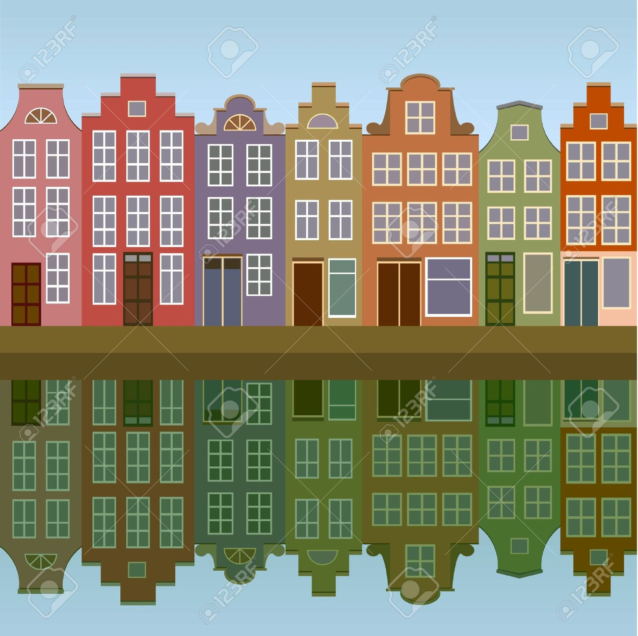 Amsterdam houses on the canal bank seamless Stock Vector - 10896342