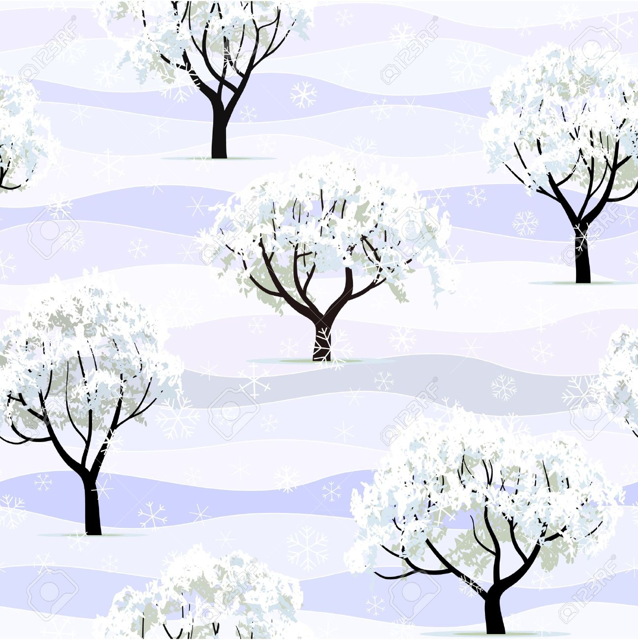 winter garden tree snow covered seamless background royalty free