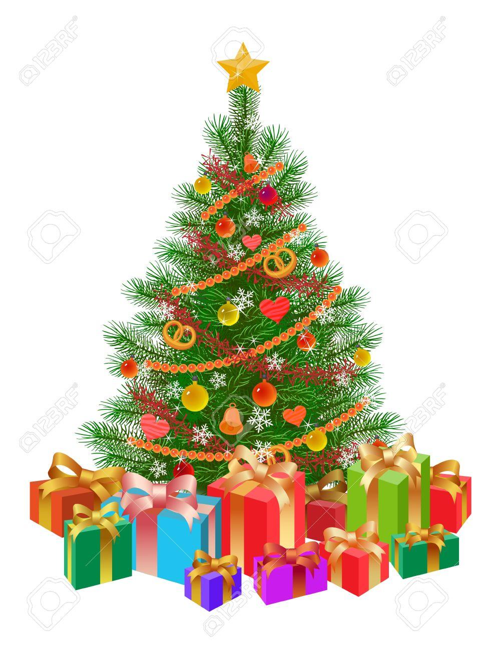 Geschmückter Weihnachtsbaum, Geschenke, Isoliert Auf Weiß Lizenzfrei ...