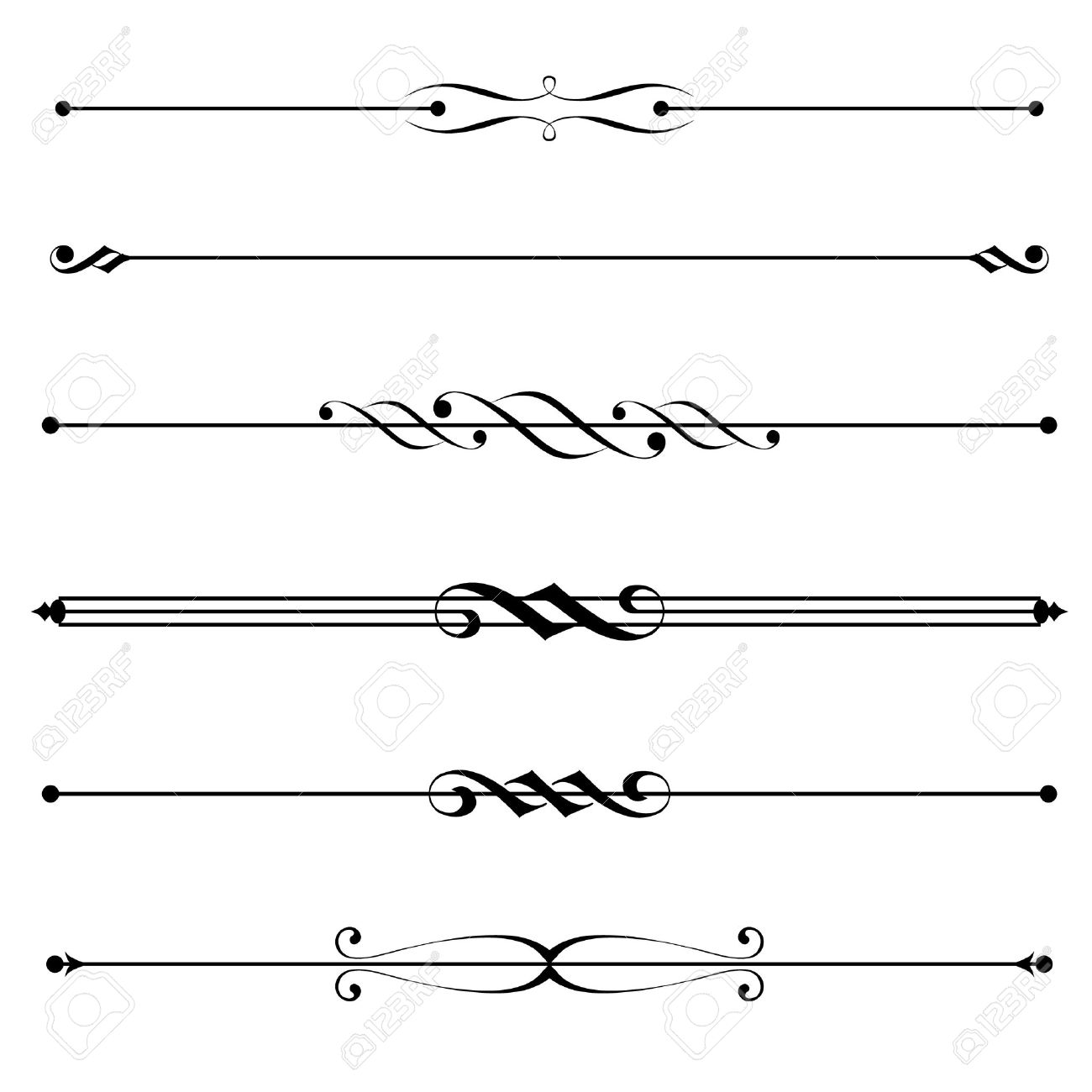 Vector Set Of Decorative Divider, Elements, Border Royalty Free ...