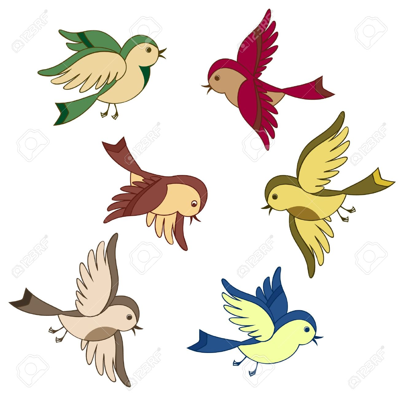 vector set of flying bird cartoon isolated royalty free cliparts rh 123rf com flying bird cartoon images flying bird cartoon pics