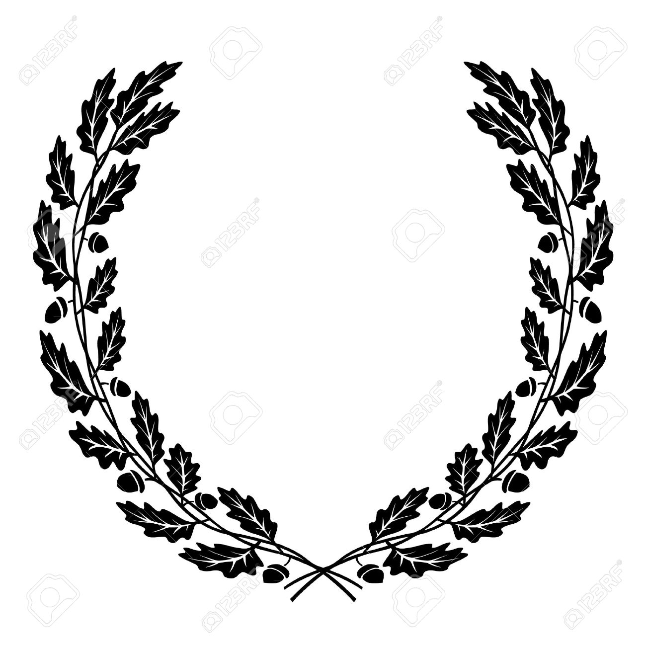 vector wreath of oak leaves black silhouette royalty free cliparts