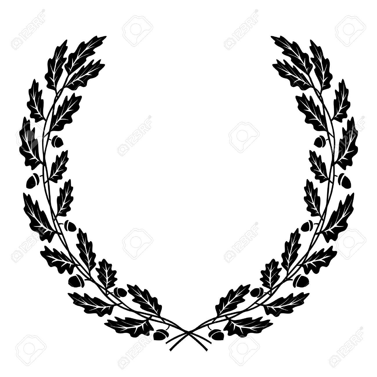 vector wreath of oak leaves black silhouette royalty free cliparts rh 123rf com oak leaf vectorial oak leaf vector free