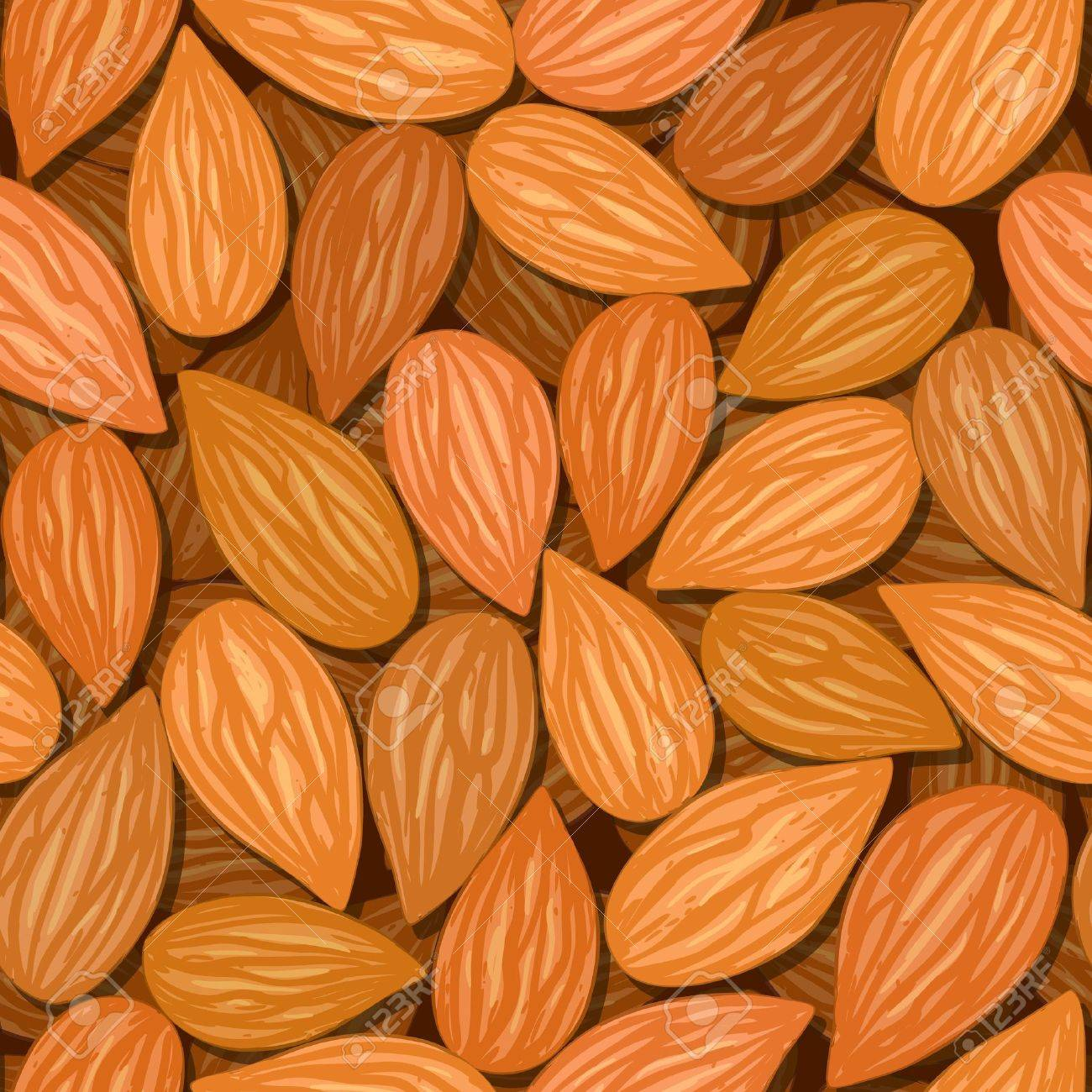vector almonds brown nut seamless background pattern Stock Vector - 11816205