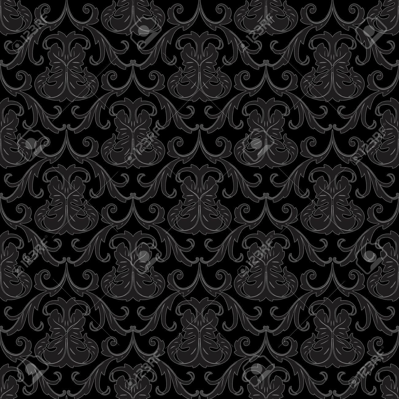 シームレスな黒花の抽象的な壁紙パターン背景のイラスト素材 ベクタ