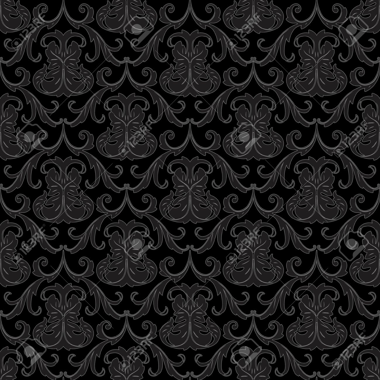 11889505 seamless black floral abstract wallpaper pattern background