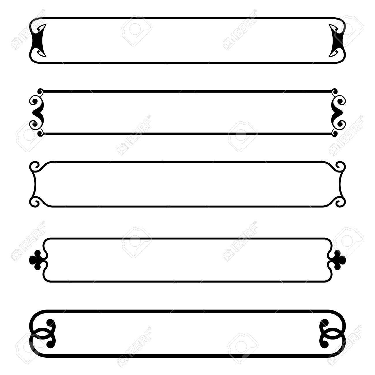 vector set of simple black banners border frame royalty free