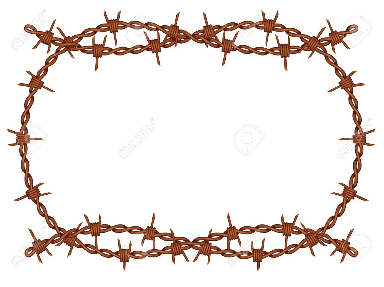 Old Rusty Barbed Wire Frame Pattern Isolated Royalty Free Cliparts ...