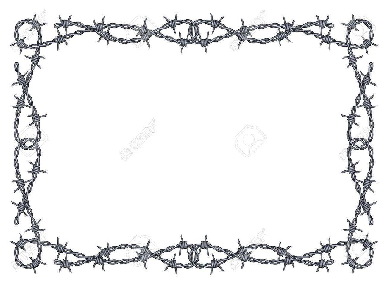 Barbed Wire Frame Pattern Isolated On White Royalty Free Cliparts ...