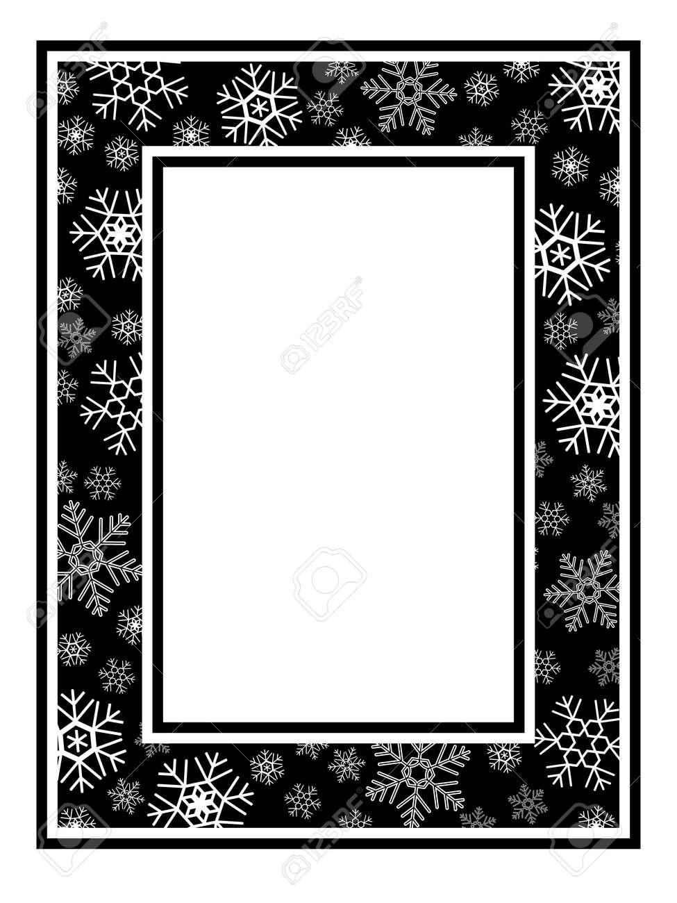 Christmas Wide Frame Snowflake Pattern Black White Royalty Free ...