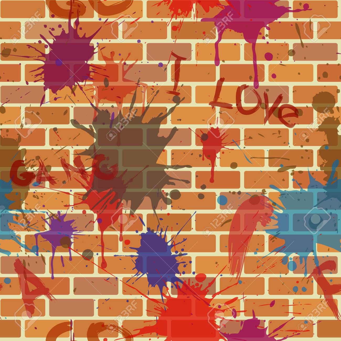 Graffiti wall clipart - Graffiti Wall Seamless Dirty Street Brick Wall With Graffiti And Colour Paint Blot