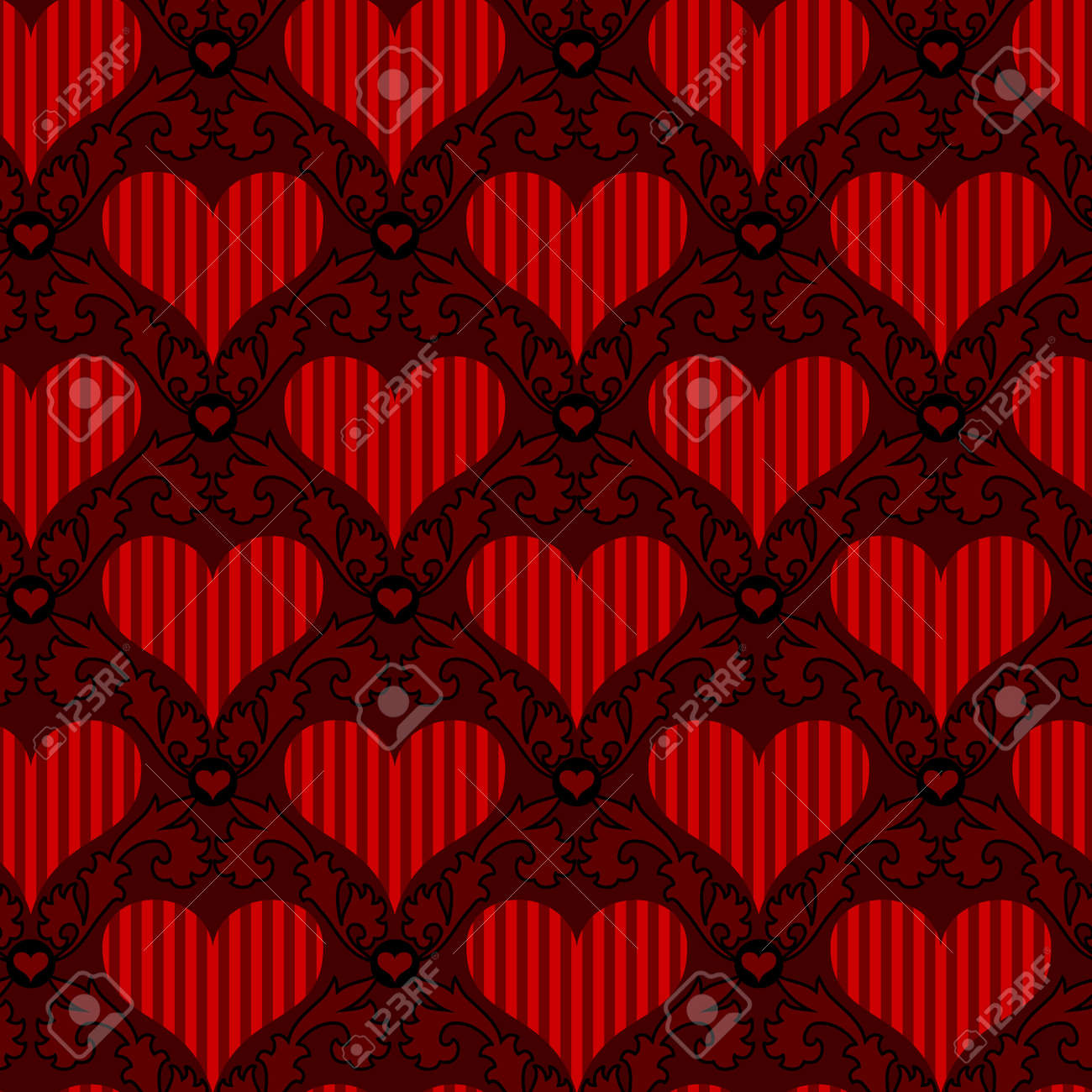 vector red striped heart seamless background wallpaper Stock Vector - 12375441