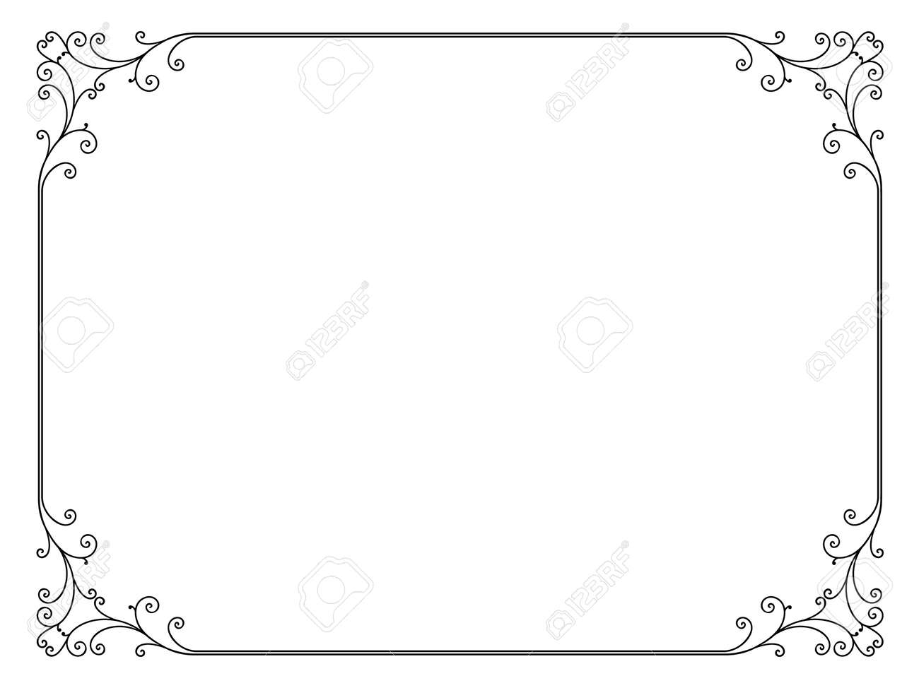 simple calligraph ornamental decorative frame pattern - 12494753