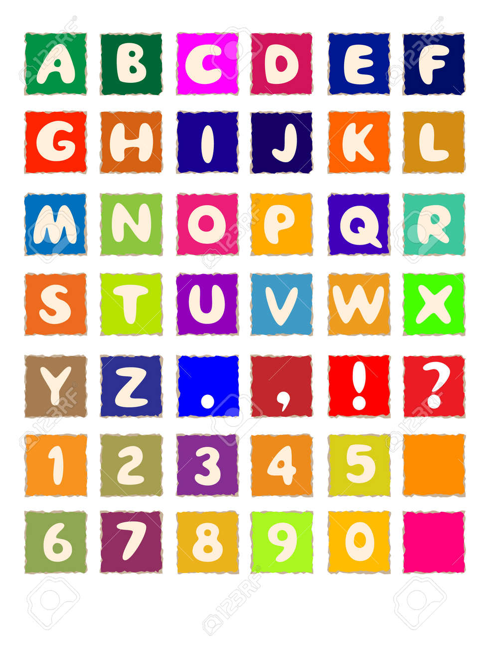 Cartoon Letters Alphabet On Square Colored Paper Abc Font Stock