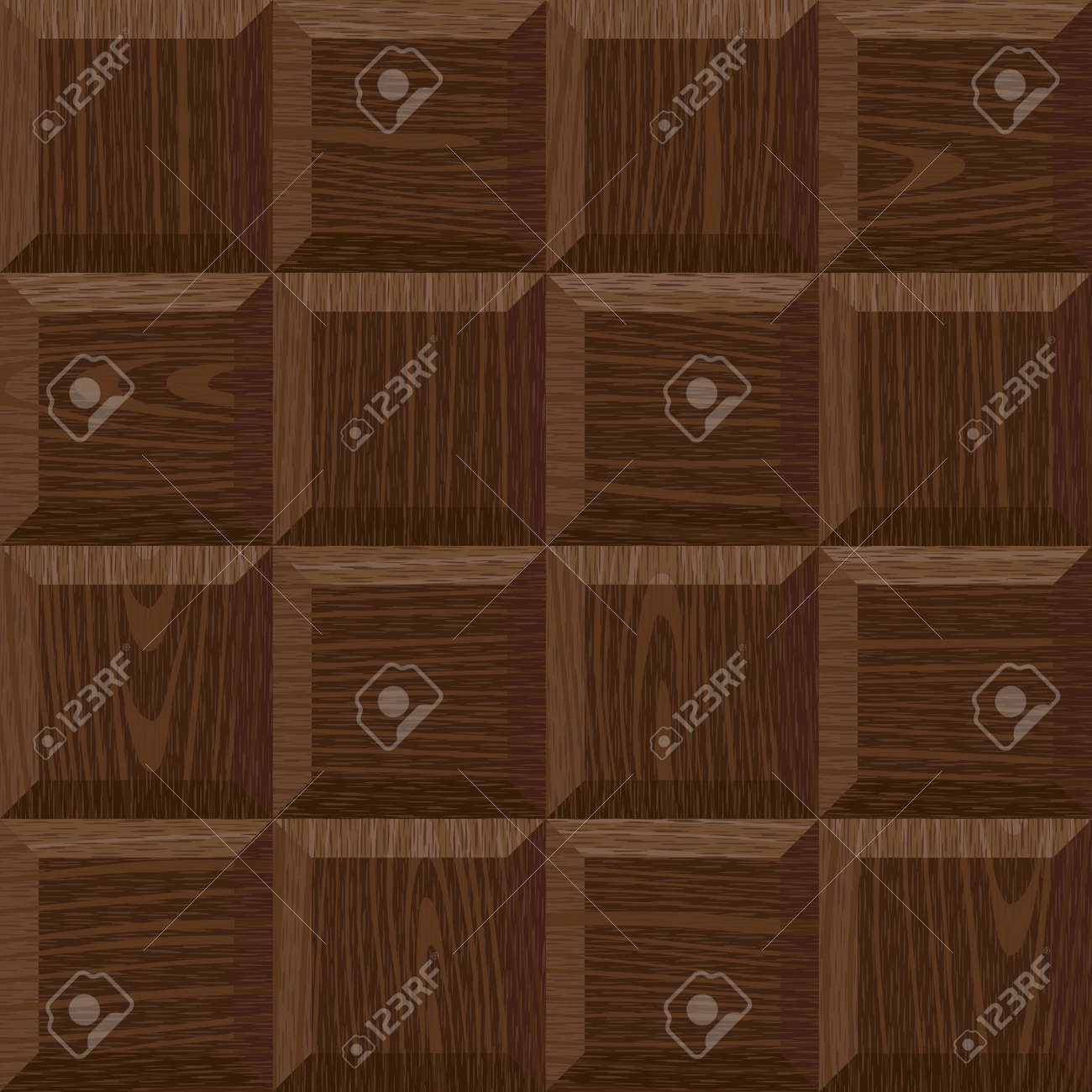 seamless old dark oak square parquet panel wall texture Stock Vector - 12494840