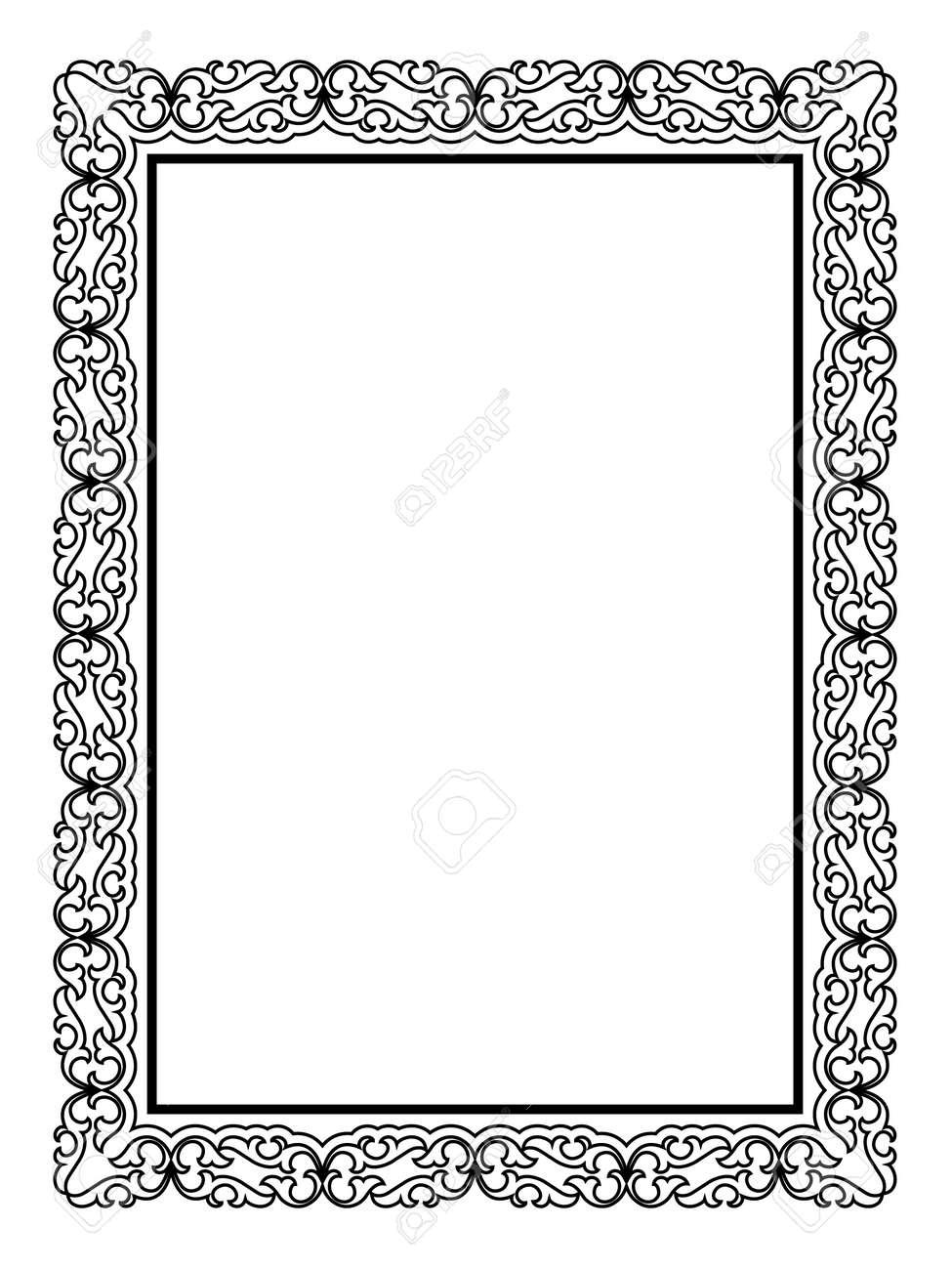 Exceptionnel Simple, Calligraphier Noir Ornement Motif Cadre Décoratif Clip Art  WV61