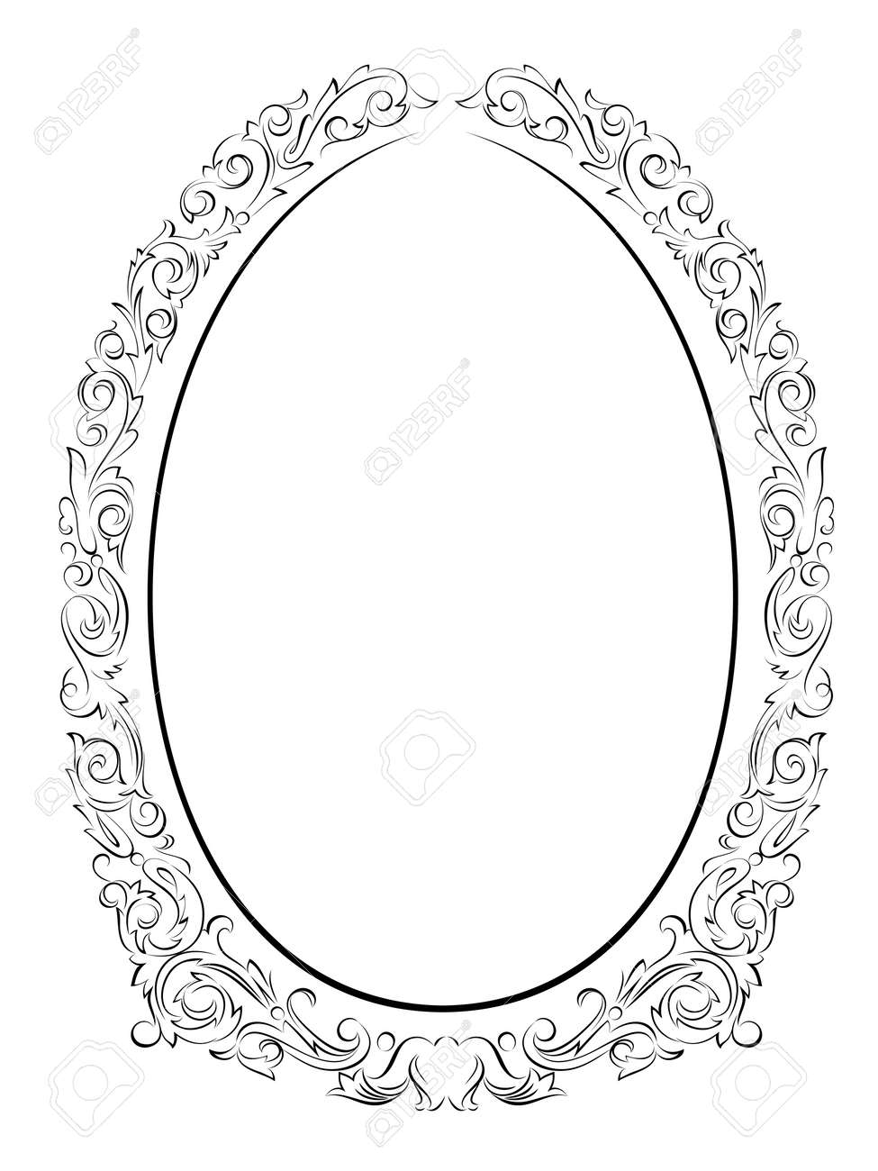 calligraphy penmanship oval baroque frame black isolated, not traced - use it by part Stock Vector - 13295290
