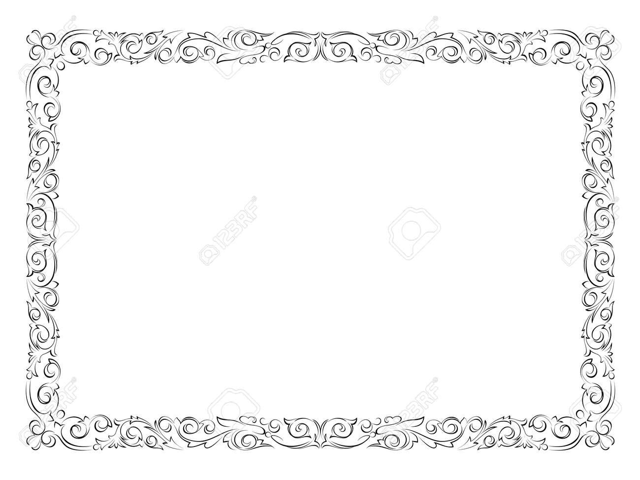 シンプルな黒い達筆で書く装飾用フレーム (飾り枠パターン ベクトル